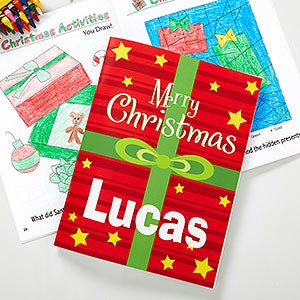 merry christmas personalized coloring book crayon set on sale today