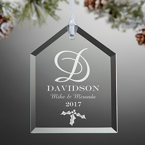 Engraved Glass Christmas Ornaments - Family Monogram - 11005