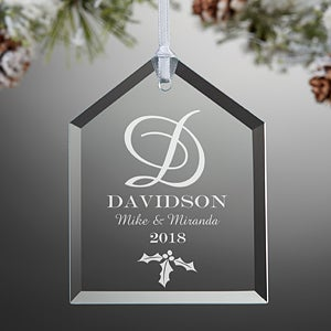 Engraved Glass Christmas Ornaments - Family Monogram - 11005