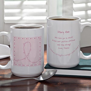 Personalized Breast Cancer Awareness Coffee Mug - Never Give Up - 11015