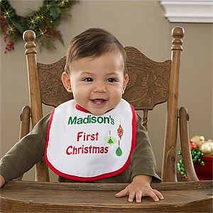 My First Christmas Personalized Baby Bib - 11018