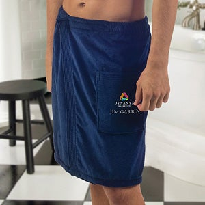 Men's Embroidered Logo Velour Towel Wrap - 11041