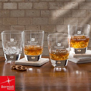 Bormioli Rocco® Corporate Logo Rocks Glass Set of 4  - 11043