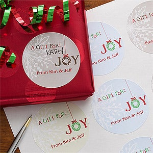 Personalized Christmas Gift Stickers - Holiday Joy - 11056