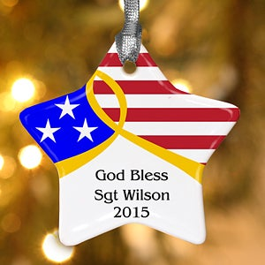 Personalized Christmas Ornaments - American Flag Star - 11089