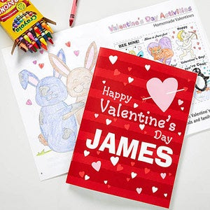 happy valentines day personalized coloring book crayon set