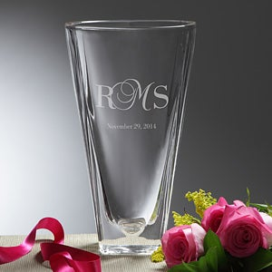 Personalized Crystal Vase - Etched Initials - 11150
