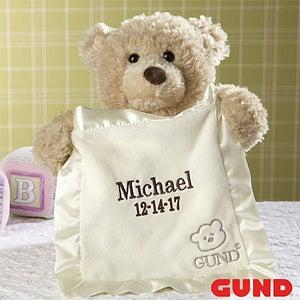 personalized gund bear peek a boo