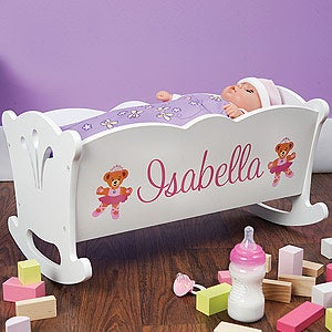 Personalized Doll Cradle and Blanket Set - 11158D