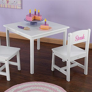 KidKraft Personalized Aspen Table and Chair Set- White & Personalized Kids Table and Chair Set - White