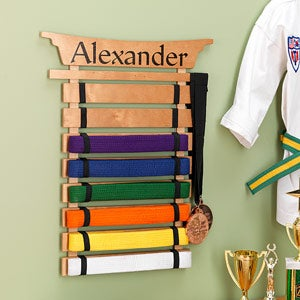 Personalized Karate Belt Display Rack Martial Arts