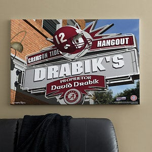 Alabama Crimson Tide Collegiate Football Personalized Pub Sign Canvas - 11167