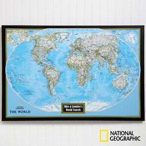 Personalized world map from national geographic office gifts buy personalized national geographic maps choose us or world maps and add any 2 lines of text free personalization fast shipping gumiabroncs Image collections