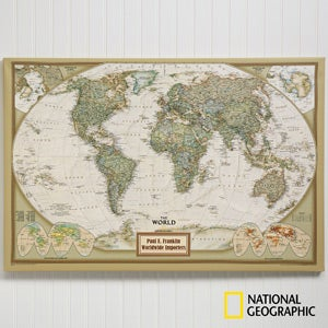 buy personalized national geographic world map and us map canvas prints and add any 2 lines of text free personalization fast shipping