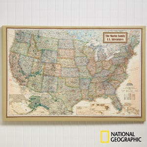 Personalized 24x36 national geographic us canvas map office gifts buy personalized national geographic world map and us map canvas prints and add any 2 lines of text free personalization fast shipping gumiabroncs