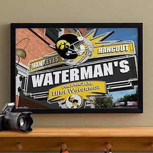 Iowa Hawkeyes Collegiate Football Personalized Pub Sign Canvas - 11177