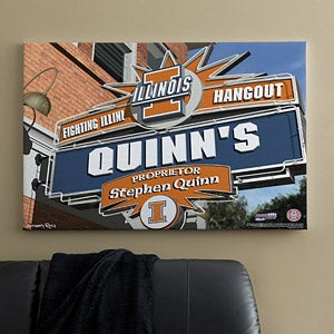 University of Illinois Fighting Illini Collegiate Football Personalized Pub Sign Canvas - 11178