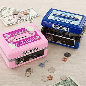 Kids Personalized Cash Box with Combination Lock and Key - 11192
