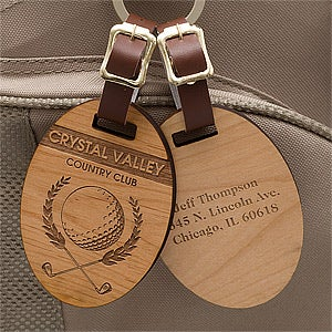 Engraved Wood Golf Bag Tags Classic Golfer