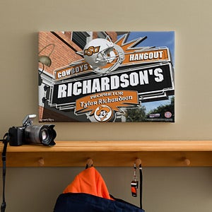 Oklahoma State Cowboys Collegiate Football Personalized Pub Sign Canvas - 11201
