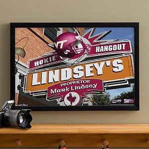 Virginia Tech Hokies Collegiate Football Personalized Pub Sign Canvas - 11208