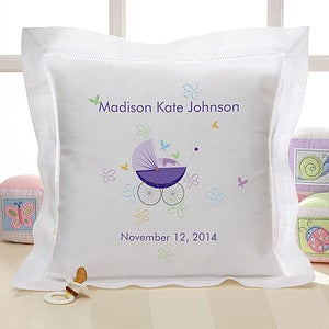 Personalized Heirloom Linen Baby Pillow - 1123