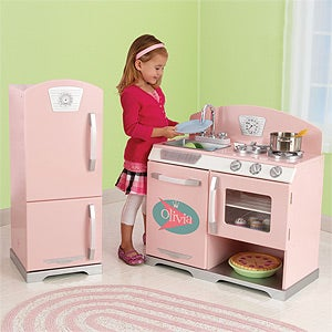 Personalized Kids Kitchen Playset - Retro Pink - 11233D