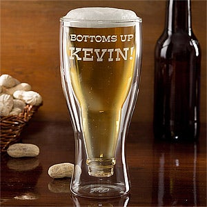 Personalized Beer Bottle Glass - Bottoms Up - 11248