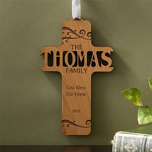 Personalized Wooden Cross - Bless Our Family - 11257