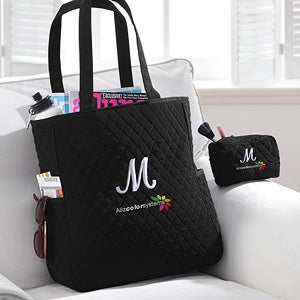 Corporate Personalized Quilted Tote and Makeup Bag - 11267