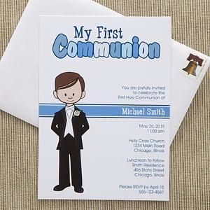 personalized communion invitations communion boy
