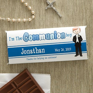 Personalized First Communion Candy Bar Wrapper Favors - Communion Boy - 11278