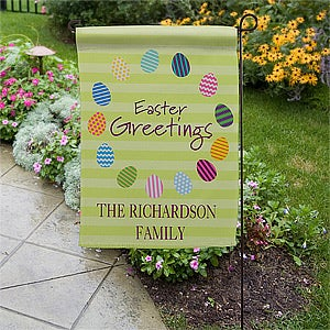 Personalized Garden Flags   Easter Eggs   11311