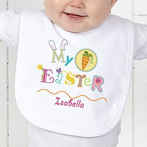 Personalized my first easter baby bib easter gifts my first easter personalized bib negle Images