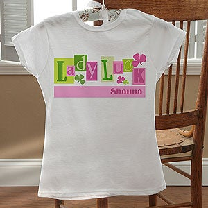 Personalization Mall Personalized Girl's Fitted T-Shirt - Lady Luck at Sears.com