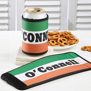 Personalized Irish Flag Beer Can & Bottle Wrap - 11342