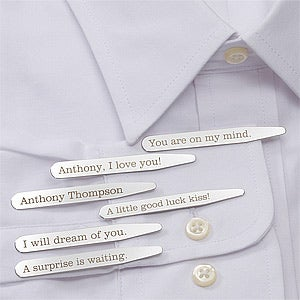 Secret Message Personalized Collar Stays Set of 3 - #11378