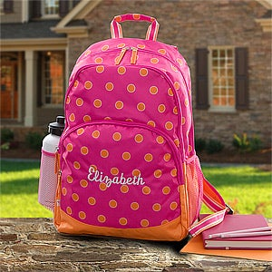 Girls Personalized Backpacks - Pink & Orange - 11394