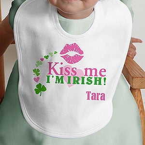 Personalization Mall Personalized Baby Bibs for Girls - Kiss Me I'm Irish at Sears.com