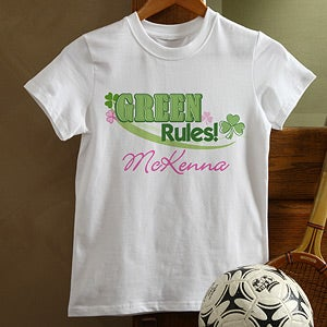 Personalized Irish Shamrock Kids Shirts - Green Rules - 11425