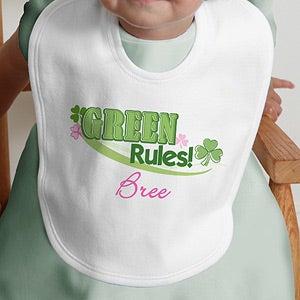 Personalization Mall Personalized Irish Shamrock Baby Bibs - Green Rules at Sears.com
