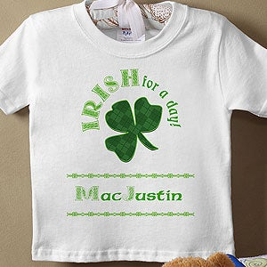 Personalization Mall Personalized St Patrick's Day Baby T-Shirt - Irish For A Day at Sears.com