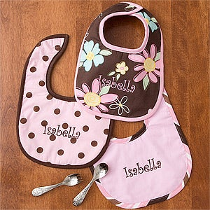 Personalized Baby Girl Bibs - Pretty In Pink - 11431
