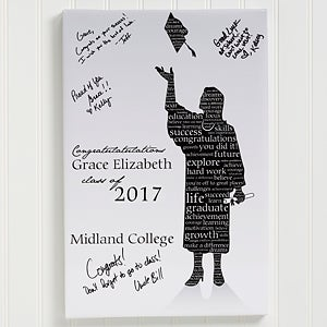 Personalized Graduation Canvas Art - Graduate Silhouette - 11451