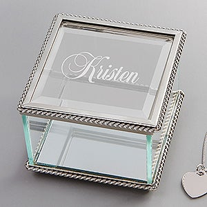 Personalized Glass Jewelry Box with Engraved name - 1146