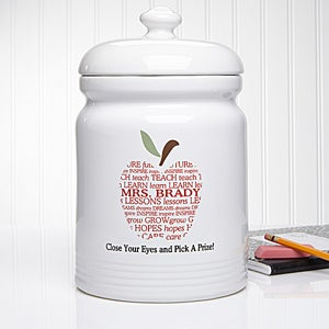 Personalized Teacher Treat Jar - Apple Scroll - 11464