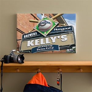 Personalized Milwaukee Brewers MLB Pub Sign Canvas Print - 11480