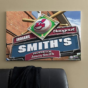 Personalized Cleveland Indians MLB Pub Sign Canvas Print - 11486