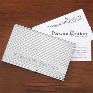 Personalized Executive Silver Business Card Case - 1149
