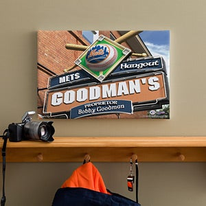 Personalized New York Mets MLB Pub Sign Canvas Print - 11490